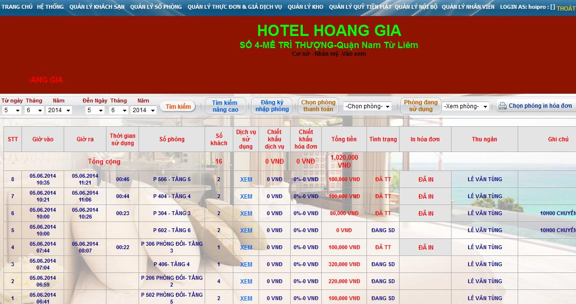 Phần mềm quản lý khách sạn online